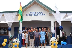 Dr Peter Slowe, Karen Slowe's husband, centre, at the opening of the Karen Slowe Junior High School in Ghana