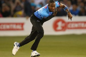 Jofra Archer in action for Sussex Sharks. Picture courtesy of Getty Images