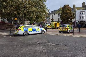 The scene of the incident in Worthing town centre