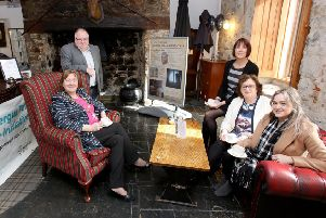 The Mayor of Mid and East Antrim, Cllr Maureen Morrow, Samuel Wilson, consultant, Kirsty Fallis, owner Dobbins Inn, Angela Lavin, senior investment manager, National Lottery Heritage Fund and Cllr Cheryl Johnston, chair of THI Project Board.