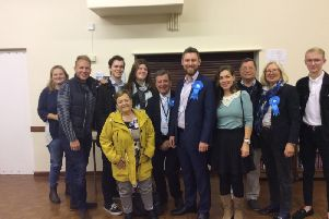 James Butcher (centre) with supporters and fellow councillors SUS-191029-153400001