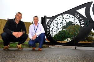 Dave Rintoul and Kim Quaintrell 'outside HMP Ford's new cafe Serving Thyme. Pic Steve Robards