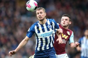 Brighton and Hove Albion defender Adam Webster faces a spell on the sidelines with ankle ligament damage