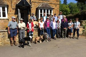 Some people from the Walking Group outside the Yew Tree pub in Avon Dassett