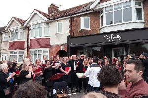 Brooksteed Alehouse Singers performing their inaugural concert in April, outside the micropub in South Farm Road, Worthing
