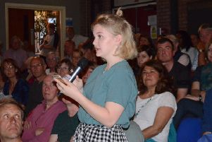 A school student speaking at the 2017 Steyning hustings