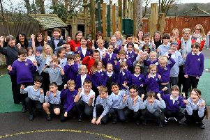 Pupils and staff at Clapham and Patching Primary School