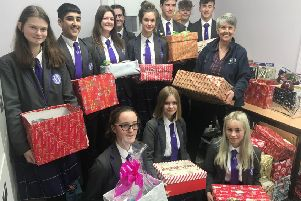Worthing High School students with their Christmas hampers