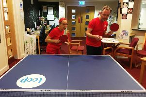 Sarah Palmer and Rupert Murrell from West Sussex Mind playing badminton as part of their RED January daily activities