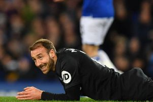 Brighton and Hove Albion striker Glenn Murray goes close to snatching a late equaliser at Goodison Park
