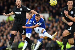 Richarlison scores the only goal of the match at Goodison Park yesterday