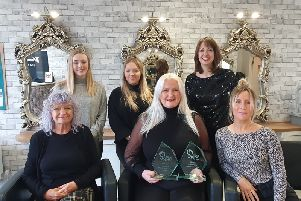 Owner Gill Humphrey and stylists, Kim Handford, Anita Barton, Candise Wadey, Abbie Burch, and Lesley Hunt