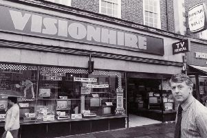July 1983. Horsham, Carfax. Visionhire manager, James Winton