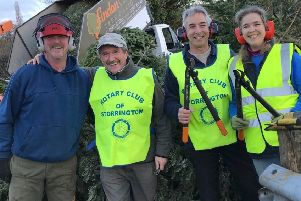 Storrington & Pulborough District Rotary Club held its Christmas tree recycling scheme for a second year. Pictured left to right:  Rob Dakin, Mike Webster and Malcolm and Jane Gray SUS-190116-113514001