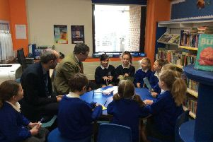 Jeremy Quin visited Holbrook School to congratulate them on raising their KS2 results to well above the national average: one of many great results locally. As part of the visit the teadteacher Mr Holmes introduced Mr Quin to the School Council.