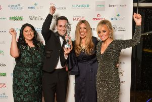 Pharmacy team from Boots, Dungannon celebrate winning Customer Service Award with Lisa Murphy, Eurosales International (on behalf of KISS Products).