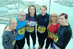 Lisa Dunkley, far left, at the launch of the 2019 Great South Run with prospective runners Cheryl Skedgel-Hill, Geoff Rees, Ellie-Mae Carter, double winter Olympic gold medallist Lizzy Yarnold and Dawn Dunsterville. Picture: Sarah Standing (310119-7842)