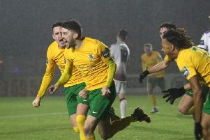 Horsham v Hastings United. Steve Metcalf is chased by his team-mates having scored in injury-time. Picture by John Lines