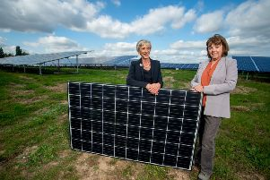 Louise Goldsmith and Deborah Urquhart at the new solar farm in Westhampnett. Photo by Darren Cool www.dcoolimages.com SUS-180910-174834001