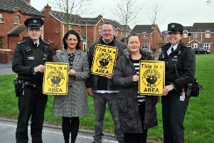 At the Launch of the Neighbourhood Watch Scheme at Larkfield Meadows, Craigavon are, Constable Brian Hull and and Constable Julie Lyons, Brownlow PSNI Neighbourhood Team, Annette Blaney, PCSP with Anthony and Maresa McKey, Local Coordinator.