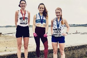 Natalie Bhangal, centre, tops the podium at Draycote Water. Picture submitted