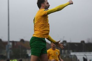 Jack Brivio celebrates his goal against Three Bridges. Picture by John Lines