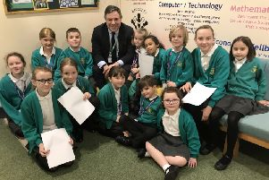 Jeremy Quin visited Kingslea School last week to meet pupils and staff.