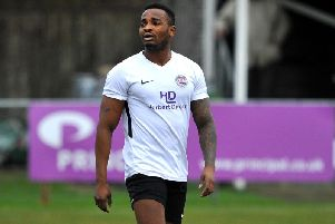 Tony Nwachukwu opened the scoring in Horsham YMCA's 4-1 home win over Arundel in the Premier Division on Saturday. Picture by Steve Robards.