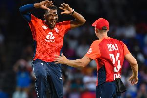 Chris Jordan of England celebrates the dismissal of Fabian Allen of West Indies during the 2nd T20I between West Indies England at Warner Park, Basseterre, Saint Kitts and Nevis, on March 08, 2019. (Photo by Randy Brooks / AFP)