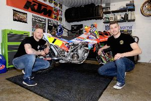 Gary Moulds and Steve Kirwin glad to get track time in England.