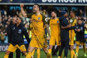 Brighton celebrate the win at Millwall on Sunday. Picture by PW Sporting Photography