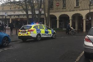 Police were called to TK Maxx in Worthing. Picture and video: Jennifer Logan