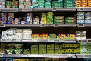 Shelves of tinned food