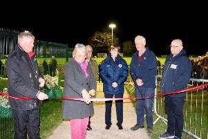 Billingshurst chairman Kevin Tilley, district councillors Amanda and Nigel Jupp, Sussex County FA welfare officer Sandra Redhead, Billingshurst Parish Councillors Barry Barnes and Gary Commins