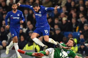 Dale Stephens tangles with Eden Hazard. All pictures courtesy of Getty Images.
