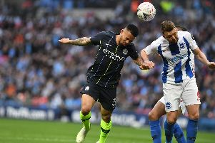 Gabriel Jesus and Dale Stephens compete for the ball during the FA Cup semi-final between Brighton & Hove Albion. All pictures by PW Sporting Photography.