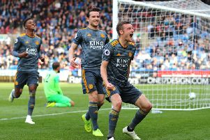 Jamie Vardy celebrates scoring at Huddersfield on Saturday. Picture by Getty Images