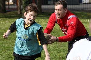 Ulster's Darren Cave during a Kingspan Coaching Masterclass at Edenderry Primary School in Portadown