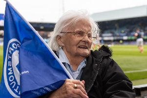 Gloria Guest, a lifelong Pompey fan, wanted to go and see the Blues play one final time, so a care home has arranged for the pensioner to go and watch the game against Rochdale. Picture: Duncan Shepherd