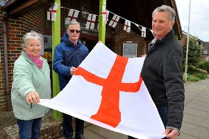 Carolyn Phillips, Nigel Stevens, and Steve Parnell of the Friends of St Barnabas who are getting ready to celebrate St George's Day in Henfield . Photo:  Steve Robards SR1909723 SUS-190413-212134001