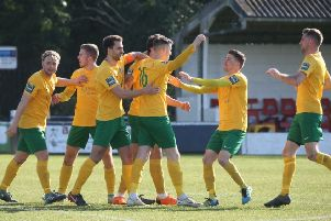 Herne Bay v Horsham. Kieran Lavery has just netted the winning goal. Picture by John Lines