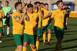 Horsham captain Steve Metcalf leads the applause. Picture by John Lines