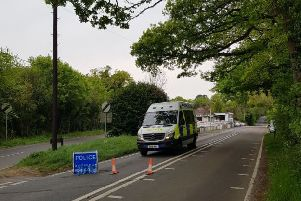 The A264 has been closed. Photo by Horsham Police
