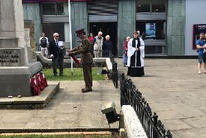 Four wreathes were laid at the War Memorial to commemorate those who fought in the D-Day landings
