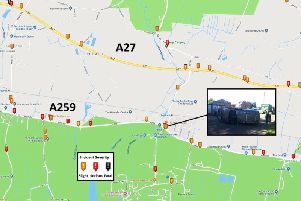 Crashes on the A259 compared to the A27. Map provided by Save Our Harbour Villages