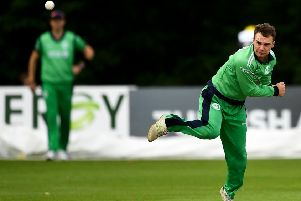 Andy McBrine of Ireland during a One Day International match between Ireland and Afghanistan at Stormont Cricket Ground, Belfast, Co. Antrim. Photo by Seb Daly/Sportsfile