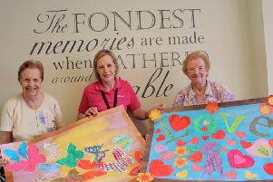 Barbara Greenwood with Marie Saunders and Sheila Jackson from Linfield House care home