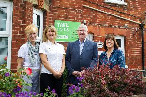 As part of their 2019 Community Bursary scheme, CALA Homes have donated ?1,325 to Samaritans Horsham and Crawley towards running costs for their call centre support service.''Picture shows:'L/R Samaritans Volunteer Caroline, Sophie Redman (Cala Homes), Samaritans Director Kevin Hawkes and volunteer Jacqui. Picture by Ian Stratton SUS-190624-131420001