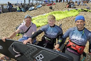 (l to r), Phil Haslam from Newcastle with his son Will and Pete Jones. Picture Ian Hargreaves (220619-05)