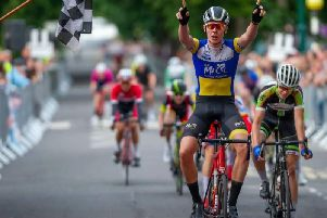 Josh Giddings winning the National Youth Circuit Series event at Minehead. PICTURE: British Cycling Photographers